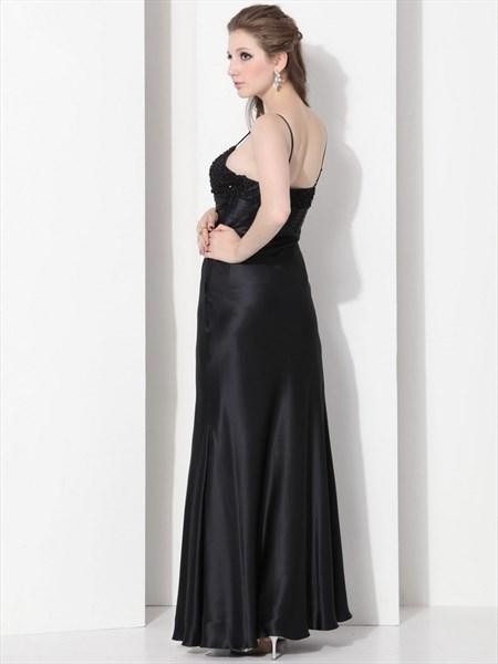 9180d526b74 Elegant Black A-Line Spaghetti Straps Beading Long Prom Dress ...