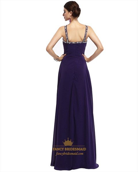 Purple V-Neck Empire Chiffon Prom Dress With Beaded Neckline And Straps
