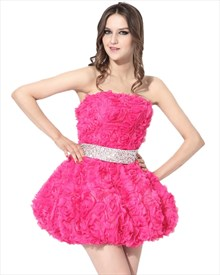 Hot Pink Strapless Organza Rosette Cocktail Dress With Beaded Waist