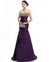 Purple Mermaid Sweetheart Taffeta Prom Dresses With Beaded Bodice