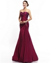 Burgundy Mermaid Strapless Taffeta Beaded Prom Gown With Draped Bodice