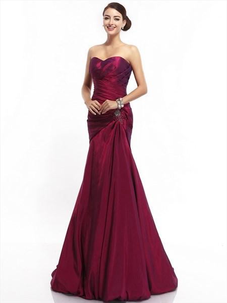 Burgundy Mermaid Strapless Taffeta Beaded Prom Gown With Draped Bodice