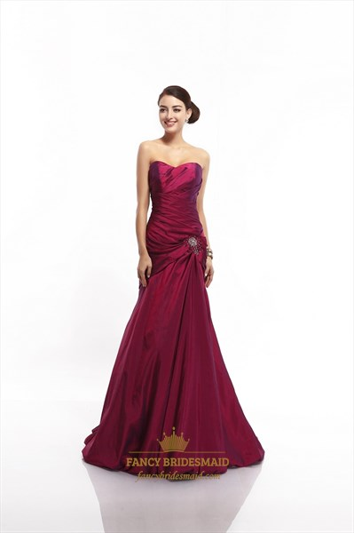 067545affae Burgundy Mermaid Strapless Taffeta Beaded Prom Gown With Draped Bodice