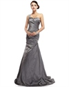 Grey One Shoulder Mermaid Taffeta Prom Dress With Beaded Embellishment