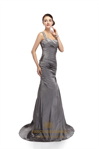 Grey One Shoulder Mermaid Taffeta Prom Dress With Beaded ...