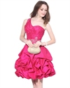 Hot Pink Beaded Short Taffeta Dress With Ruching And Bubble Skirt