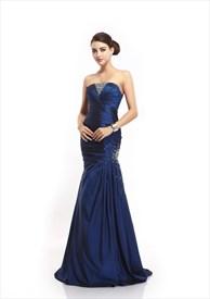 Grey One Shoulder Mermaid Taffeta Prom Dress With Beaded