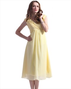 Yellow A-Line V-Neck Tea-Length Chiffon Bridesmaid With Empire Waist