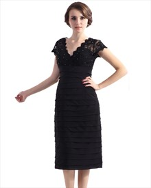 Black Tea Length V-Neck Ruched Mother Of The Bride Dresses With Lace Top