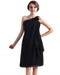 Black One Shoulder Knee Length Chiffon Dress With 3d Floral Detail