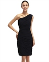 Black Sheath One Shoulder Knee-Length Ruched Chiffon Cocktail Dress