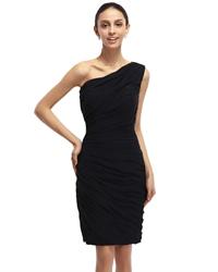 Black Sheath One Shoulder Knee-Length Ruched Chiffon Cocktail Dress