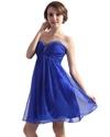 Royal Blue Chiffon Empire Sweetheart Beaded Embellished Cocktail Dress