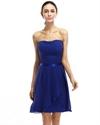 Royal Blue Strapless Chiffon Short Bridesmaid Dresses With Sashes