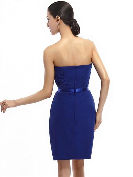 df07a429c5910 Royal Blue Strapless Chiffon Short Bridesmaid Dresses With Sashes ...