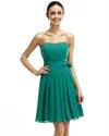 Green A-Line Strapless Chiffon Short Bridesmaid Dress With Flower Sash