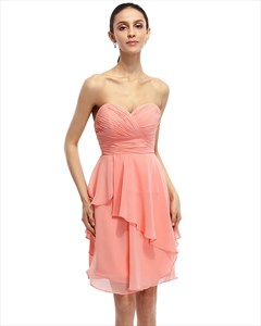 Coral A-Line Strapless Chiffon Short Bridesmaid Dress With Layered Skirt