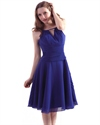 Royal Blue Chiffon Jewel Neckline Bridesmaid Dresses With Keyhole Detail