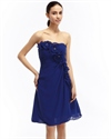 Royal Blue Chiffon Strapless Bridesmaid Dress With Floral Embellishment