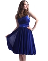 Royal Blue Chiffon Halter Neck Bridesmaid Dresses With Bubble Hem