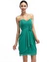 Green Chiffon Short Strapless Draped Bridesmaid Dress With Flower