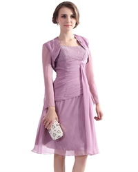 Lilac Chiffon Beaded Top Short Mother Of The Bride Dress With Jacket