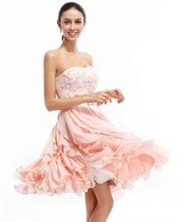 Light Pink Beaded Embellished Short Strapless Dress With Ruffle Skirt
