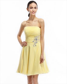 Yellow Strapless Short Chiffon Bridesmaid Dress With Beaded Waist Detail