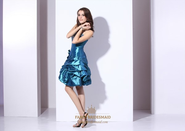 Blue Strapless Beaded Taffeta Cocktail Dress With Bubble Skirt