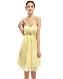 Yellow Chiffon Strapless Knee Length Bridesmaid Dress With Beaded Waist
