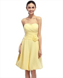 Yellow Strapless Chiffon Bubble Hem Bridesmaid Dress With Flower Detail