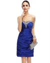 Royal Blue Strapless Beaded Neckline Sheath Cocktail Dress With Ruching