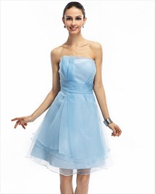 Aqua Blue Strapless Organza  Party Homecoming Dress With Ruched Waist