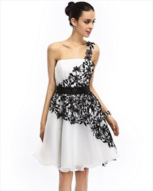 White One Shoulder Organza Knee Length Cocktail Dress With Black Lace