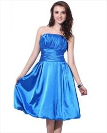 Blue Strapless Satin Knee Length Bridesmaid Dresses With Bubble Hem