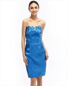 Blue Sheath Strapless Satin Knee Length Cocktail Dress With Obi Detail