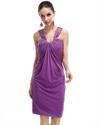 Violet Asymmetrical Neck Sheath Empire Waist Beaded Cocktail Dress