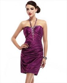 Grape Satin Sheath Beaded Halter Neckline Ruched Cocktail Dress
