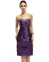 Purple Strapless Embellished Ruched Sheath Knee Length Cocktail Dress