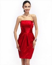 Red Pleated Strapless Satin Short Cocktail Dress With Obi Detail