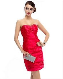 Red Beaded Neckline Strapless Ruched Satin Sheath Dress With Twist Front