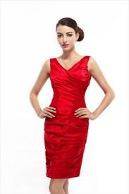 Red Embellished Ruched V Neck Sheath Knee Length Cocktail Dress