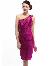 Hot Pink One Shoulder Knee Length Sheath Ruched Satin Cocktail Dress