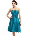Teal Strapless Taffeta Ruched Short Bridesmaid Dress With Bubble Skirt