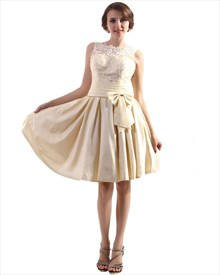 Champagne Bateau Neck Taffeta Homecoming Dresses With Lace Bodice