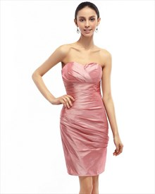 Dusty Rose Strapless Sweetheart Embellished Ruched Sheath Cocktail Dress