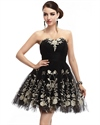 Black Strapless Sweetheart Tulle Cocktail Dress With Floral Applique