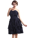 Navy Blue Strapless A-Line Ruffle Skirt Chiffon Gown With Flower Detail