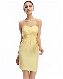 Yellow Strapless Sheath Chiffon Bridesmaid Dresses With Cut Out Back