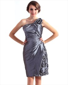 Grey Taffeta One Shoulder Sheath Bridesmaid Dresses With Flower Detail